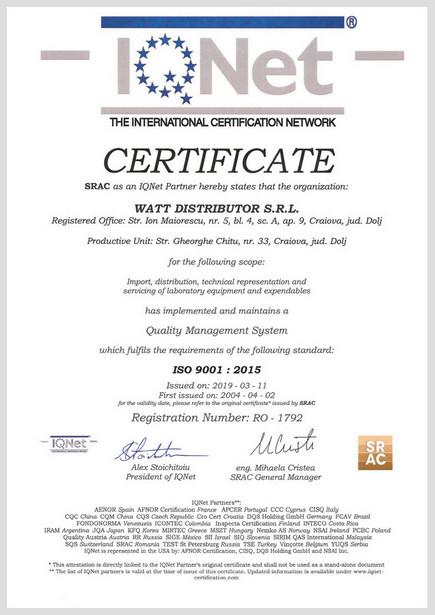 Certificat IQNET ISO 9001:2015