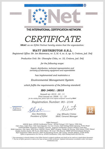 Certificat IQNET ISO 14001:2015